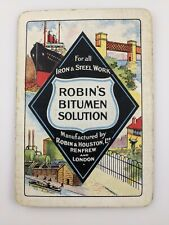 Robin's Houston Bitumen Solution Renfrow London Old Playing Card Single Swap Vtg