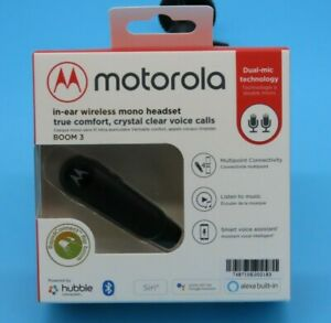 Motorola Boom 3 In-Ear Wireless Mono Headset Dual Mic - iOS & Android Compatible