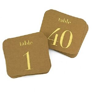 1-40 Gold Or Silver Kraft Bridal Shower Wedding Table Numbers