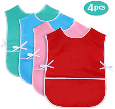SATINIOR 4 Pieces Art Smock for Kids Artist Smock Waterproof Painting Apron for