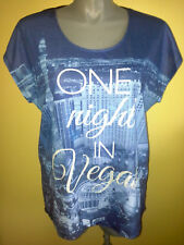 Ladies Womens Cap Sleeve T-Shirt Blouse Top Blue Vegas Casual Crossroads Size 20