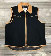 Cripple Creek Black Wool Western Vest Faux Leather Cognac Collar Zip Front Large