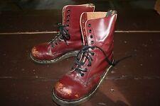 ENGLAND DR DOC MARTENS uk 4 Women 6 Oxblood Leather 10 Eye Steel Toe Combat Boot
