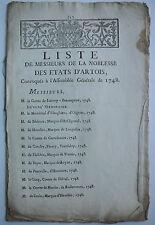 Liste de Messieurs de la noblesse des États d'Artois assemblée générale de 1748