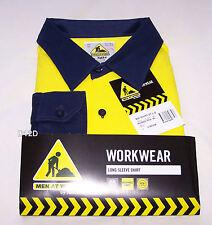 Men At Work Yakka Mens 07920 Yellow Navy Long Sleeve Shirt Size XXL New