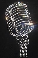 MIC CLEAR iron-on HOTFIX classic microphone diamonte RHINESTONE CRYSTAL transfer