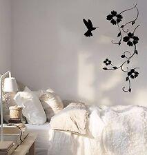 Vinyl Wall Decal Hummingbird Nature Bird Flying Flowers Sticker (656ig)
