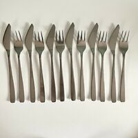 Vintage Modernist Cutlery Fish Eaters Firth Stainless Knives & Forks 6 Pairs