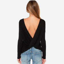 Women's Fashion V Open Back Backless Blouse Tops Long Sleeve Loose Casual Shirt