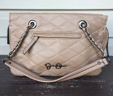 JESSICA SIMPSON VENICE SATCHEL QUILTED SHOUDER BAG PURSE TAUPE BROWN EUC! $98