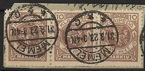 Memel 141, 10 M Dreierstreifen auf Briefstueck getempelt, Topstempel!!#b433