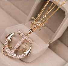 Marine Style Jewelry Rhinestone Anchors Rudder Sweater Chain Necklace Pendant