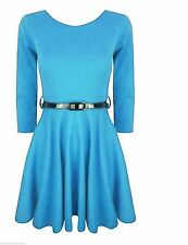 New Women Belted ¾ Short Sleeve Ladies Flared Franki Party Skater Dress Top 8-24