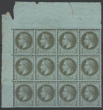 "FRANCE  STAMP TIMBRE 25 "" NAPOLEON  III 1c BRONZE BLOC 12 "" NEUF xx A VOIR  N355"