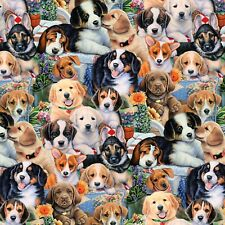 Fabric Dogs Garden Puppies DTextiles Cotton 1/4 Yard 1676
