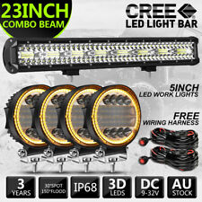 23 inch LED Light Bar Spot Flood Combo 5 inch Driving Work Lights Amber & Wires
