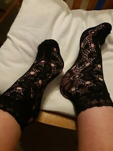 Black lace ankle socks one size nice soft touch stretchy material flower pattern