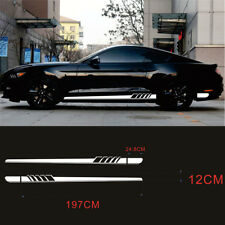 Pair Black+ white  stripe decal Car Sticker Long Stripe Auto Body Graphic Decals