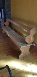 Church pews x3, Rocking back seat (1800s)