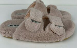 Steve Madden Around Soft Furry Slide Slippers Rubber Sole 2 Band Pink Sz 10