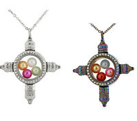 """Arrow Cross Memory Locket  Floating Glass Beads Cage Steel Chain Necklace 20"""""""