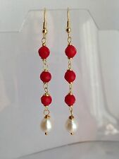 Red Coral & pearl 18 k gold plated silver earrings