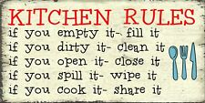 Hand Made Kitchen Funny Plaque  Gift Sign Novelty Present House Rules