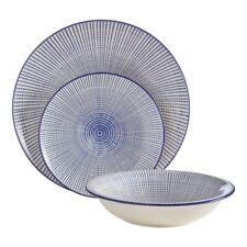 12 Piece Dinner Set Deep Blue Tableware Dolomite Dining Plates Bowls New