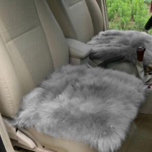 Plain Soft Faux Sheepskin Square Rug Car Chair Seat Cushion 40x40cm Gray