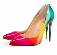 Christian Louboutin Pigalle Follies 100 Rainbow Red Blue Patent Heel Pump 37