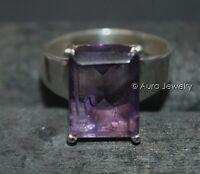 Solid 925 Sterling Silver Natural Purple Amethyst Cut Gemstone Mens Ring 296