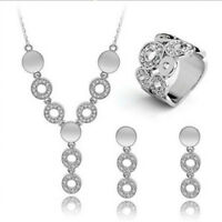 Women Fashion 18K Gold Plated Jewelry Set Party Wedding Necklace Ring Earrings