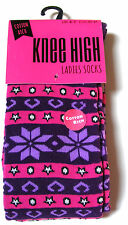 1 PAIR OF WOMENS / LADIES COTTON RICH THICK FAIRISLE KNEE HIGH WELLY  BOOT SOCKS