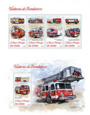 Fire Engines Transport Firefighters Sao Tome and Principe MNH stamp set