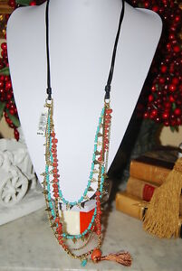 CARA NY NATIVE AMERICAN STYLE LONG NECKLACE NATURAL STONES & GOLD TONED ACCENTS