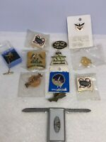 Lot Of  12 Vintage  Pins and Advertising Money Clip Knife