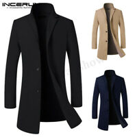 INCERUN Mens Winter Trench Coat Singal Breasted Outwear Jacket Formal Overcoat