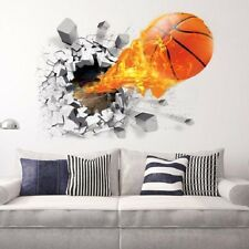 3D Broken Wall Basketball Stickers For Kids Rooms TV Background Wall Stickers