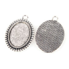 10PCS Alloy Pendant Cabochon Settings Oval Antique Silver Tray: 18x25mm (37AS)