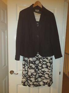 Ladies linen black & white dress and black jacket wedding occasion races size 16