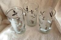 3 Libby Silver Leaf Glassware  Fall Leaves Glasses