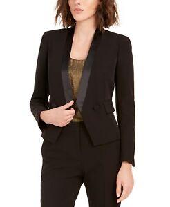 Bar III Women's Tuxedo Satin-Trim Open-Front Double-Breasted Blazer  Black Size
