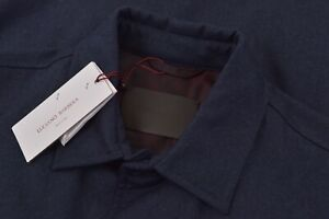 Luciano Barbera NWT Outerwear Over Shirt 48 S US Blue Flannel Wool Insulated