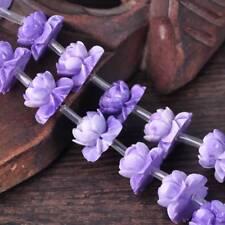 18pcs 18x12mm Lt Purple Buddhist Lotus Flower Carved Resin Imitation Coral Beads