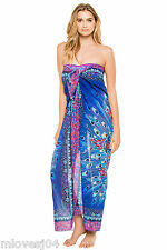 Gottex Pareo Blue Exotic Peacock Wrap Maxi Beach Sarong Dress Bikini BNWT £179