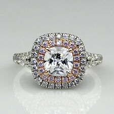 Double Halo Cushion Cut 1.5ct Moissanite 10K Two Tone Gold Pave Pink Accent Ring