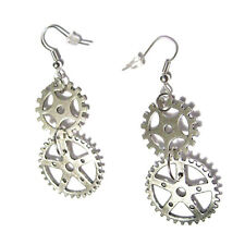 Classic Steampunk Gears Charm Drop Silver Plated French Hook Earrings costume