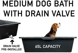 DOG BATH/Pool for MEDIUM DOGS with Easy-to-Empty DRAIN Tap, For Inside & Outside