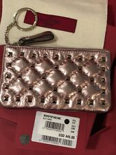 100% Authentic Valentino Womens Rockstud Spike Pink Leather Coin Purse BNIB