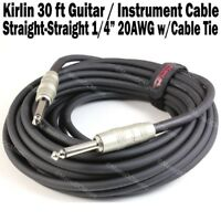 "Kirlin 30ft 1/4"" Mono Guitar Instrument Cable Cord 20AWG Shielded Free Tie NEW"